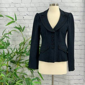 Nanette Lepore Navy Blue Tweed Blazer